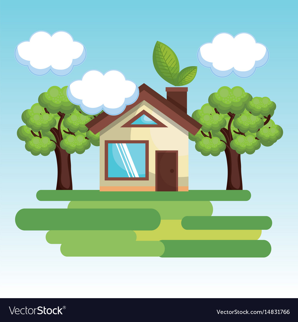 Cute house with trees design vector image
