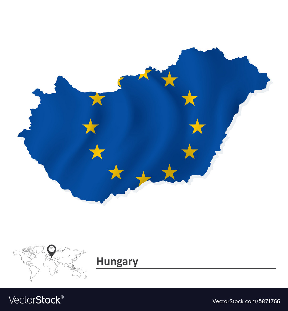 Picture of: Map Of Hungary With European Union Flag Royalty Free Vector
