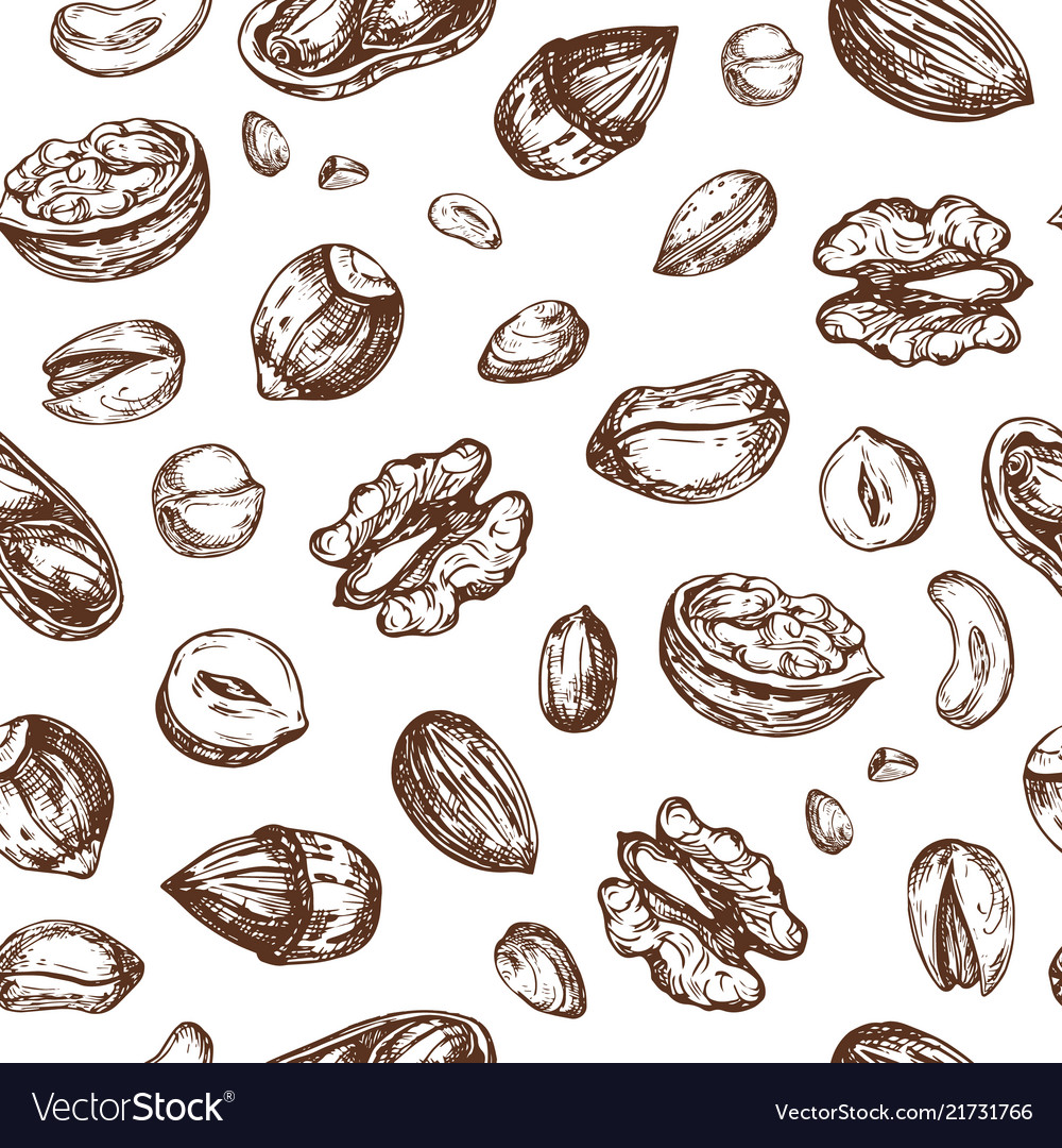 Nuts seamless pattern dried fruit and nut endless