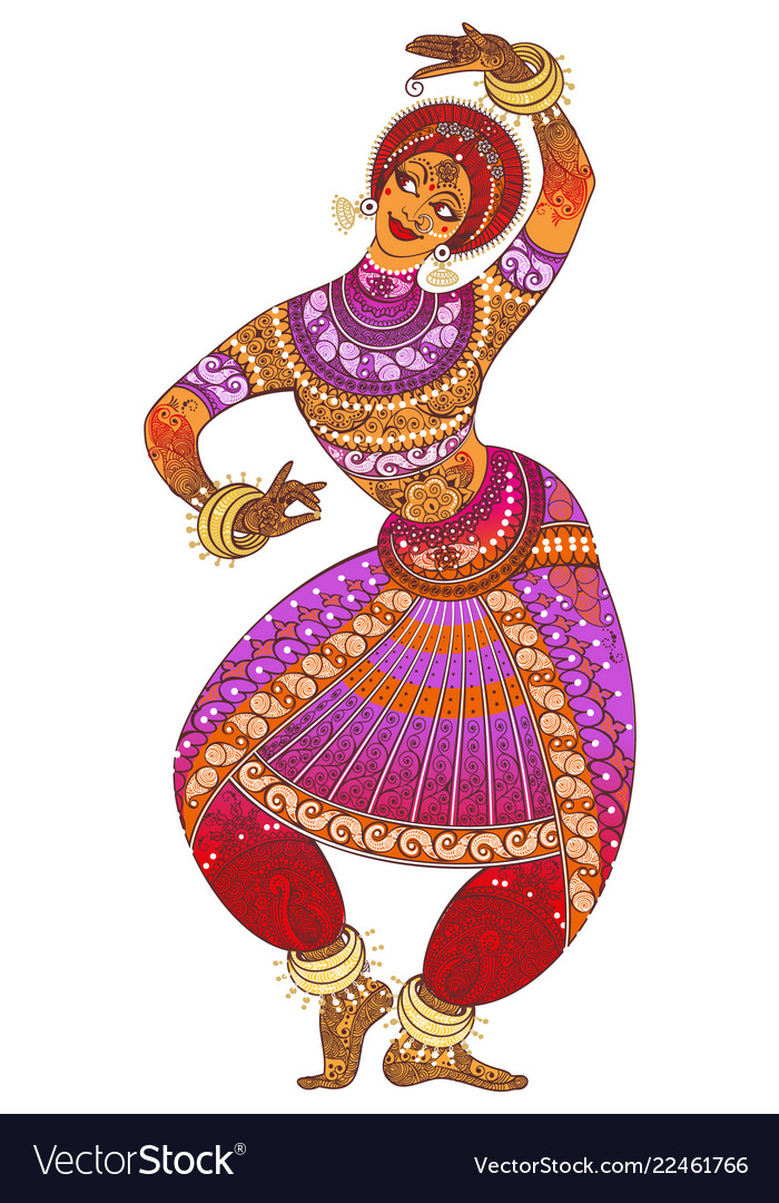 One indian woman dancer dancing in silhouette