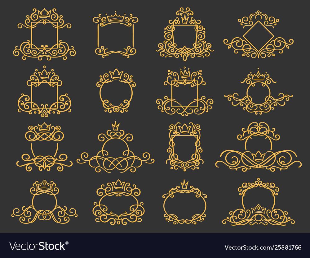 Royal monogram frame hand drawn crown emblem