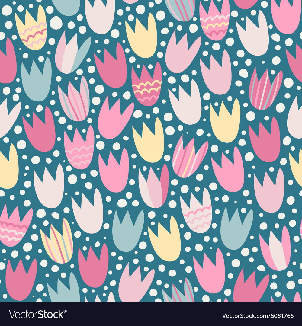 Seamless pattern with stylized tulips
