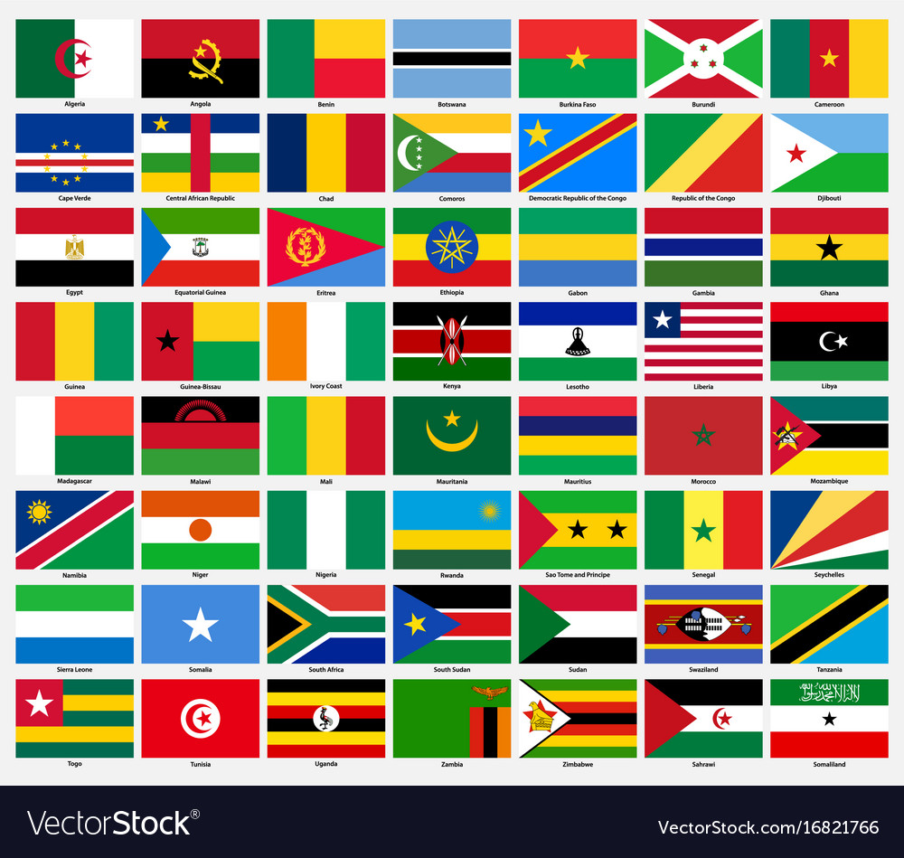 Set of flags of all african countries vector image