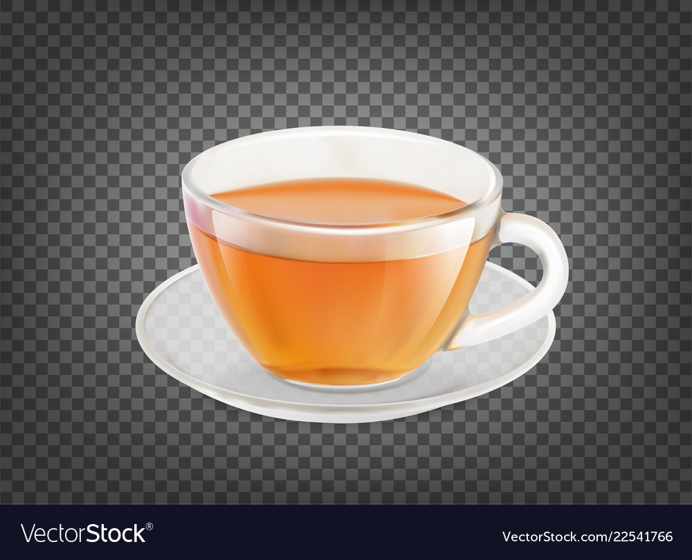 Tea cup isolated over black transparent background