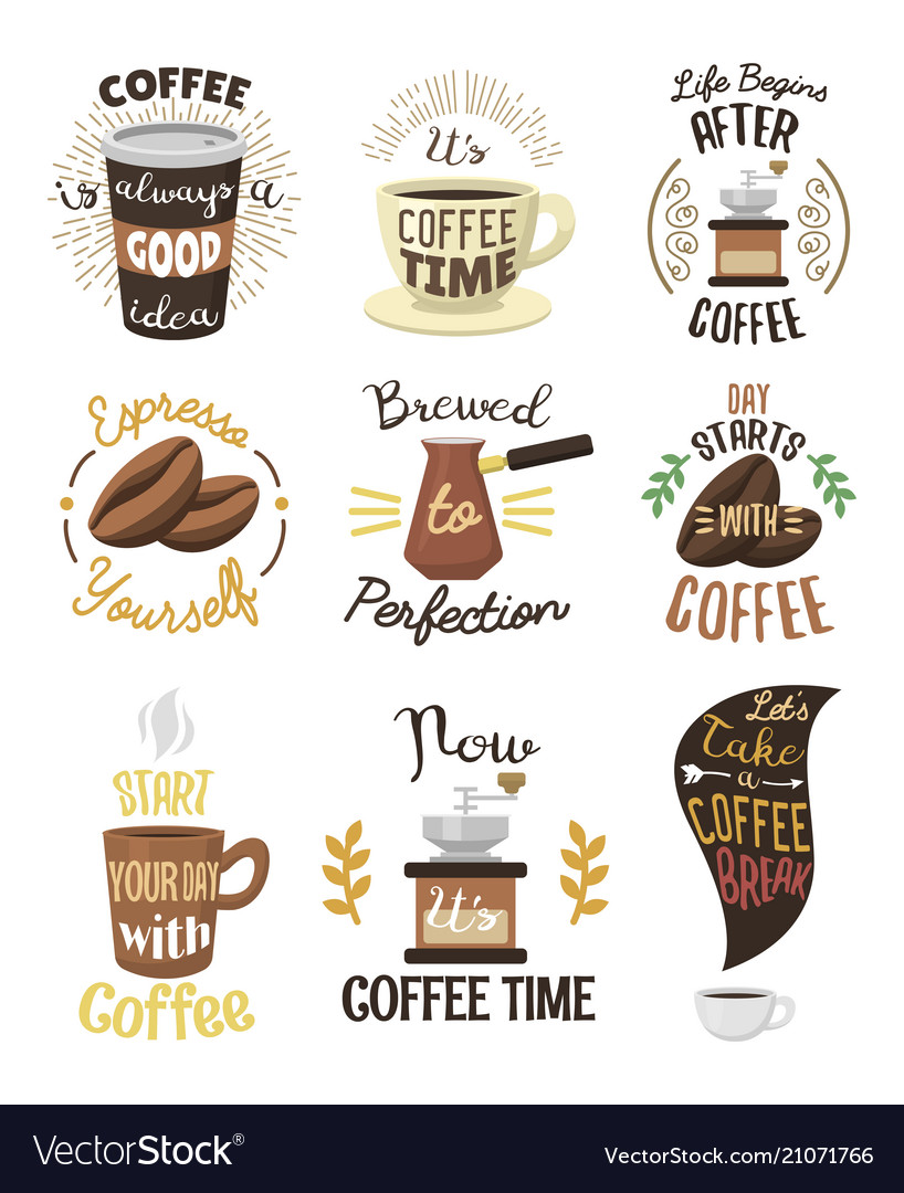 Vintage coffeeshop logo text labels and