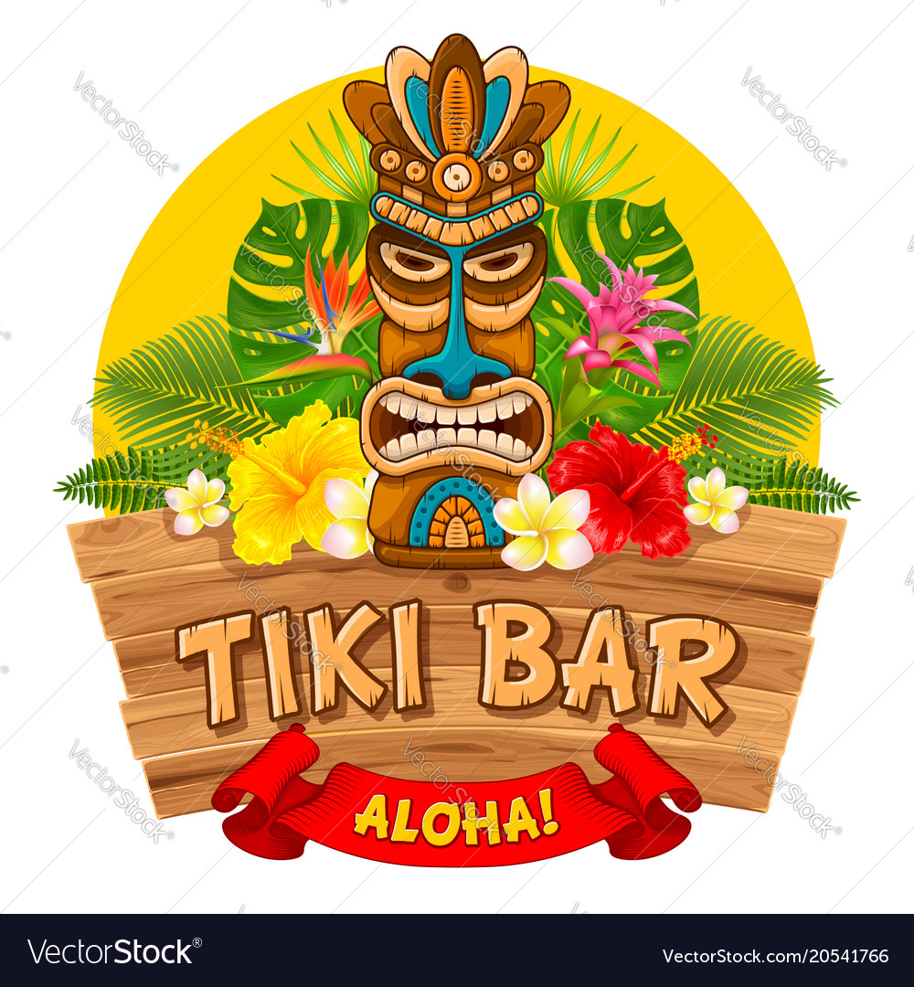 Wooden tiki mask and signboard of bar Royalty Free Vector