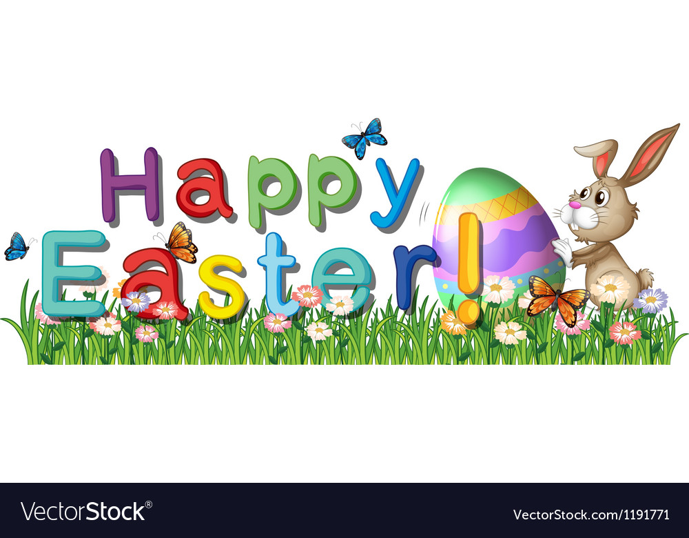 A happy easter greetings in the garden royalty free vector a happy easter greetings in the garden vector image m4hsunfo