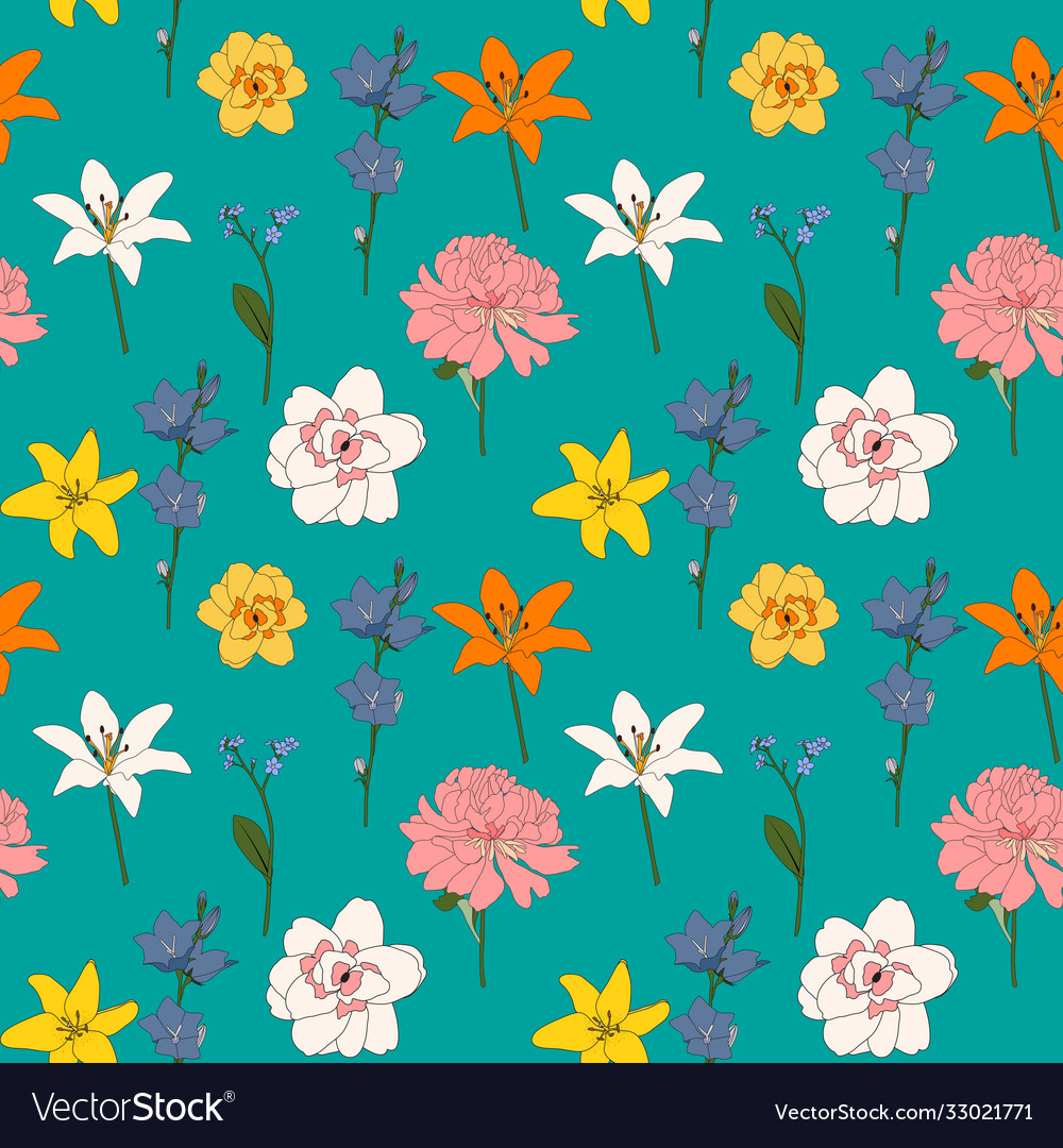 Abstract hand drawn flower seamless pattern