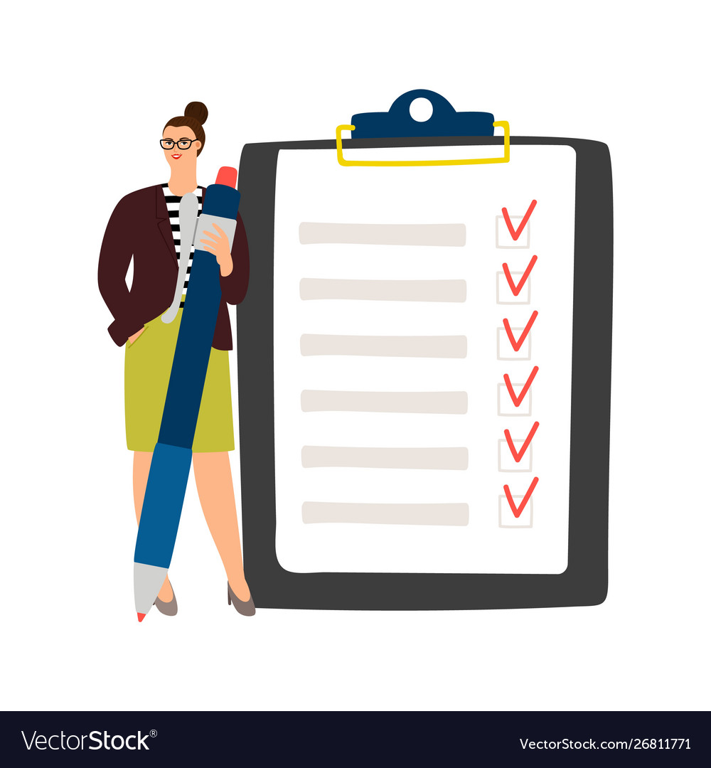 Businesswoman checklist management
