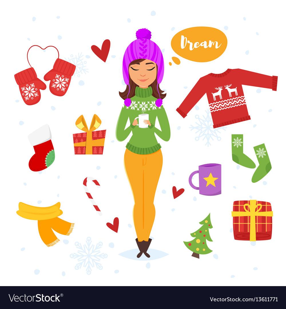 Cartoon style set of holiday items
