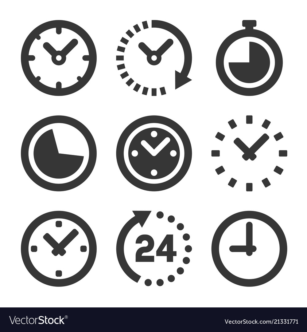 Clock icons set on white background vector