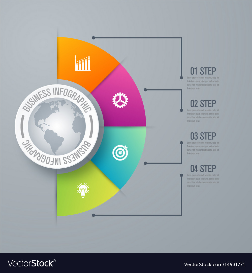 Design infographic template 4 steps vector image