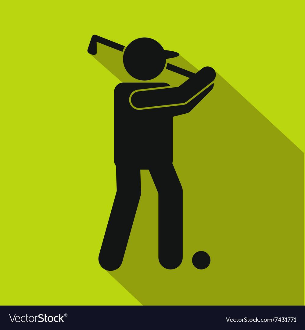 Golfer silhouette flat icon