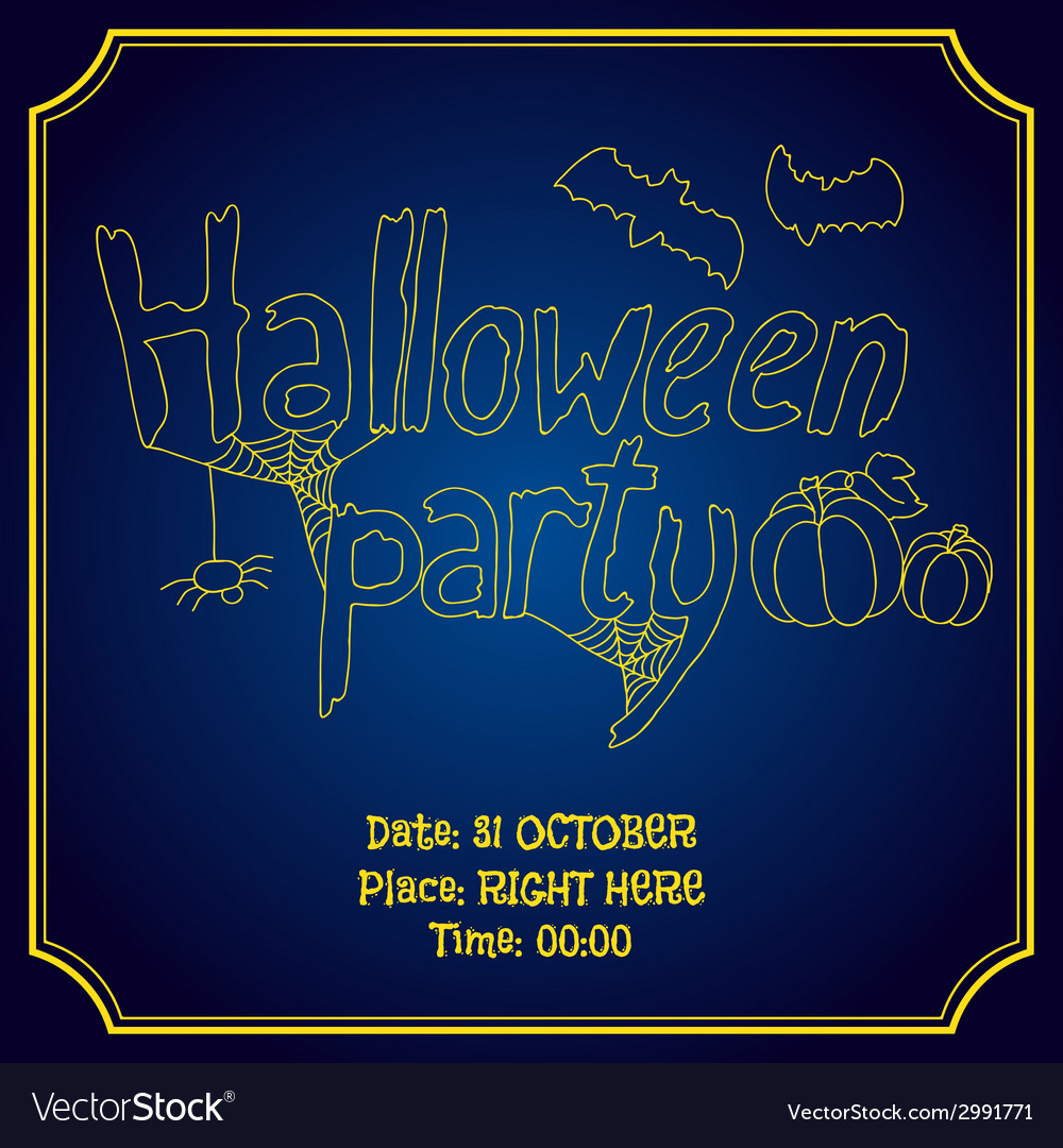 Halloween party poster with pumpkin and bats