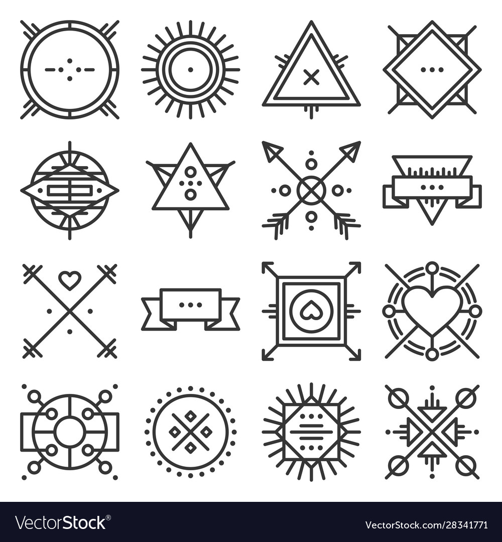 Hipster design elements set on white background