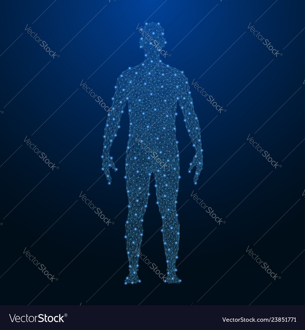 Human body made by points and lines polygonal low