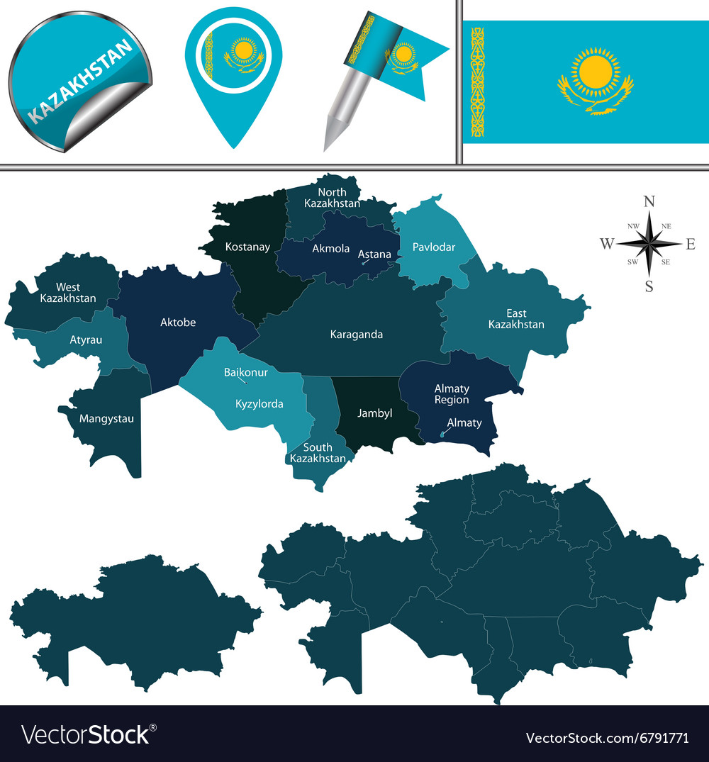 Kazakhstan map with named divisions