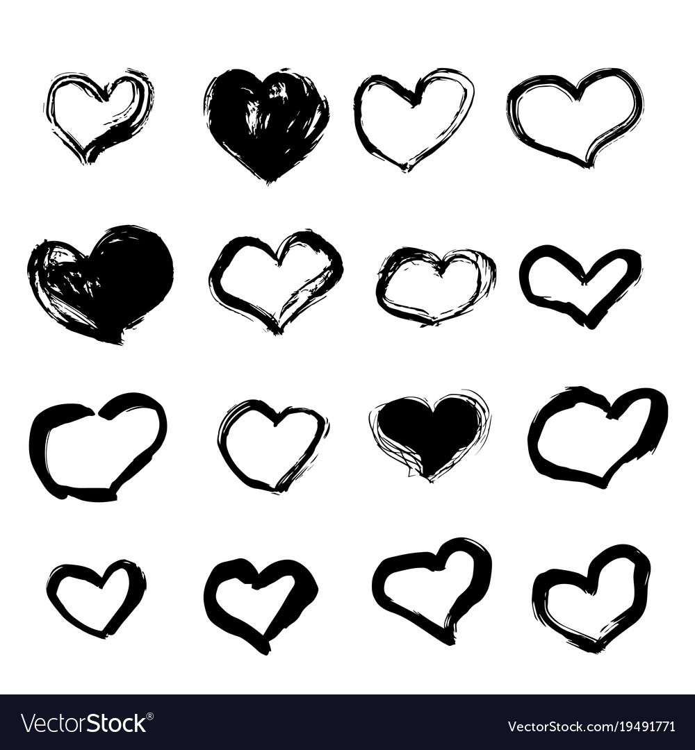Set of grunge hearts