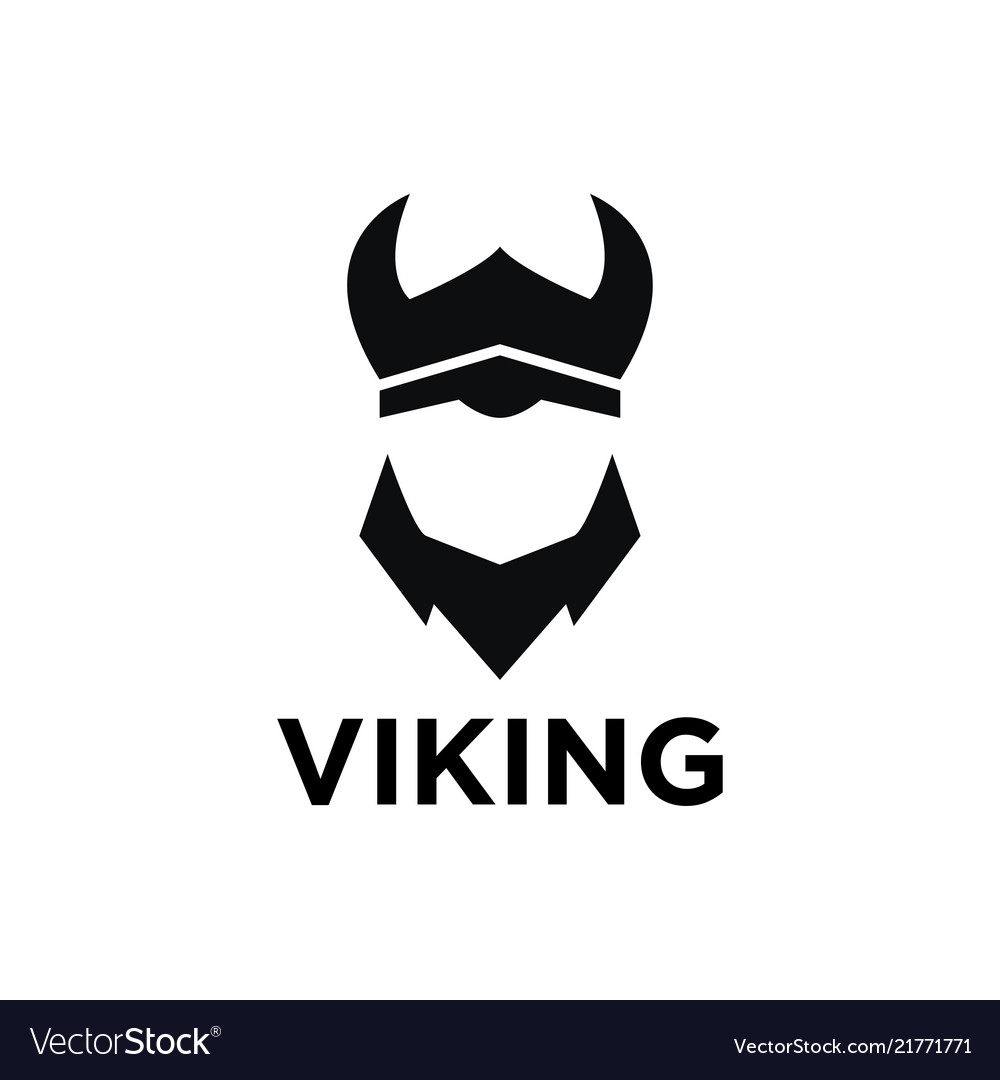Simple negative space viking logo design template