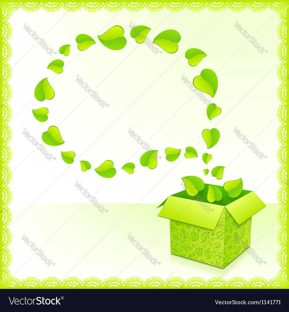 Text bubble from foliage with green box of leaves