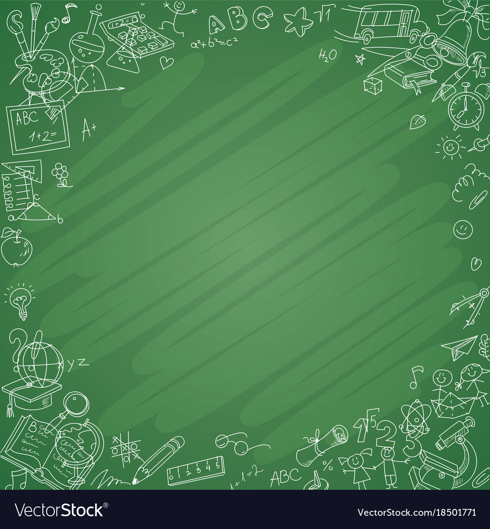 White Education Background Vector Vector Art Graphics: White School Icons With Blackboard Background Vector Image