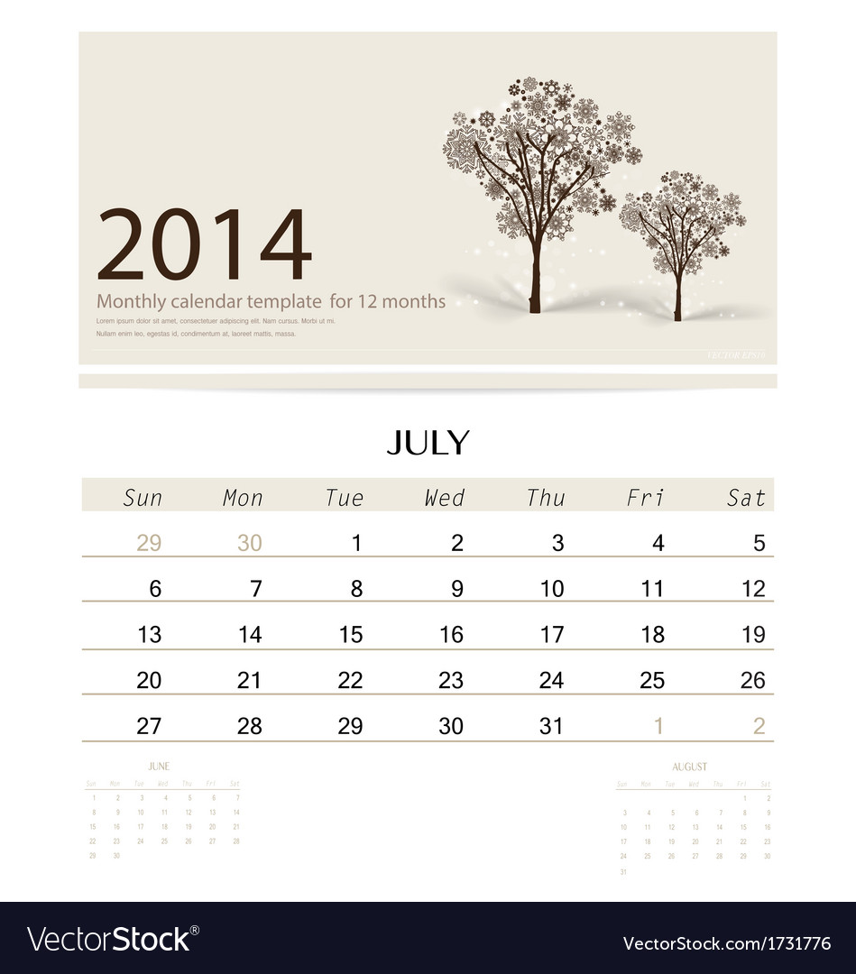 2014 Calendar Monthly Calendar Template For July Vector Image