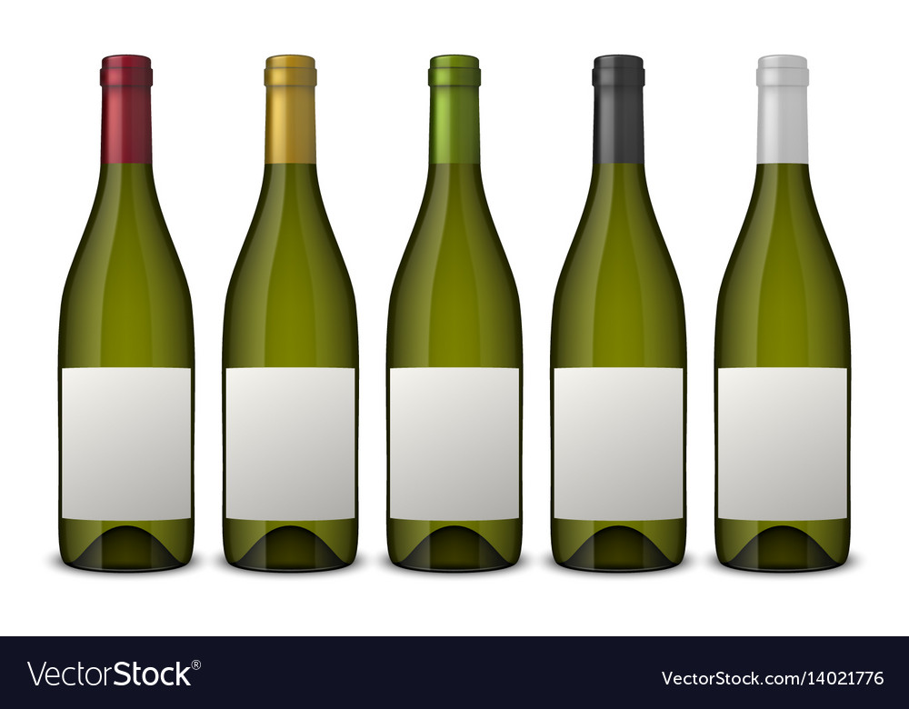 5 realistic green wine bottles with white vector image