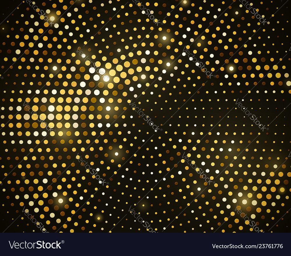 Abstract black background with retro gold glitter