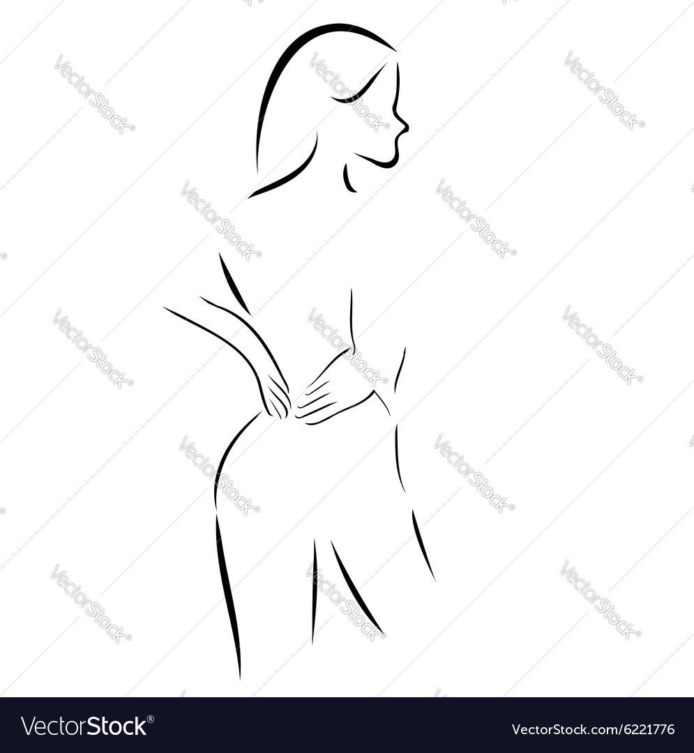 Abstract drawing of a woman massaging her back