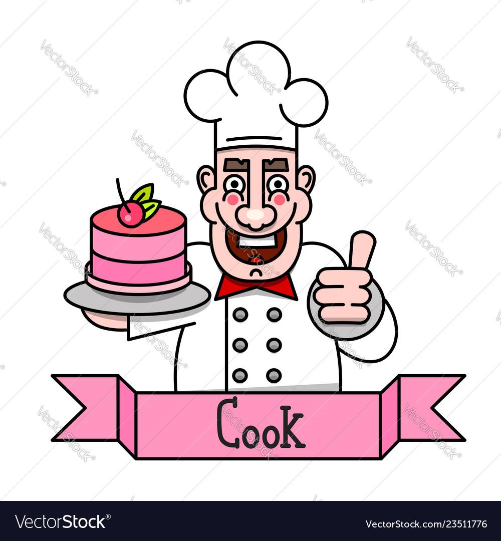 Chef cook serving food realistic cartoon