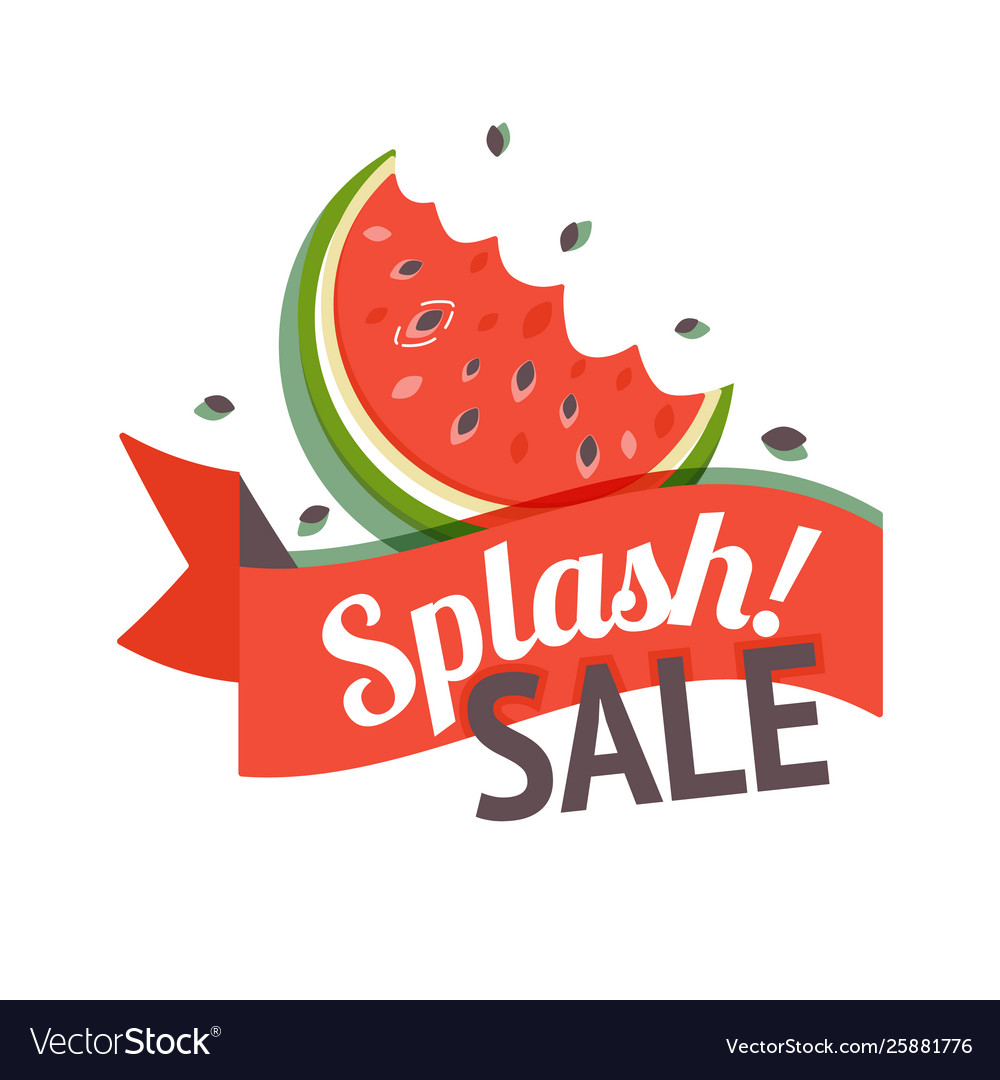 Color summer sale banner with watermelon