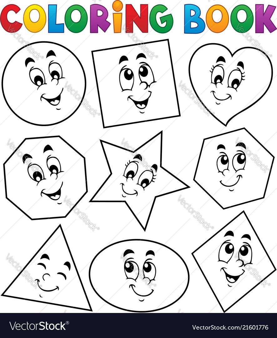Coloring book various shapes 1 Royalty Free Vector Image