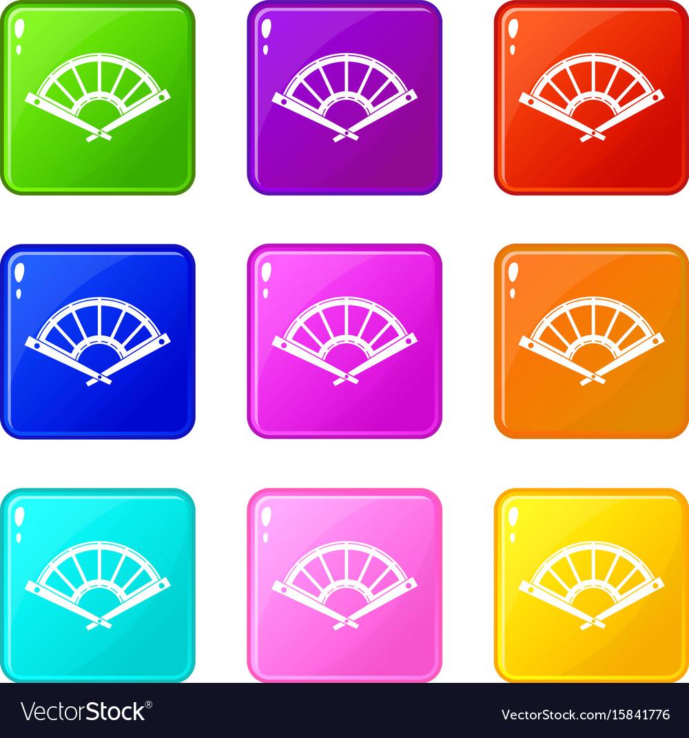 Fan icons 9 set vector image