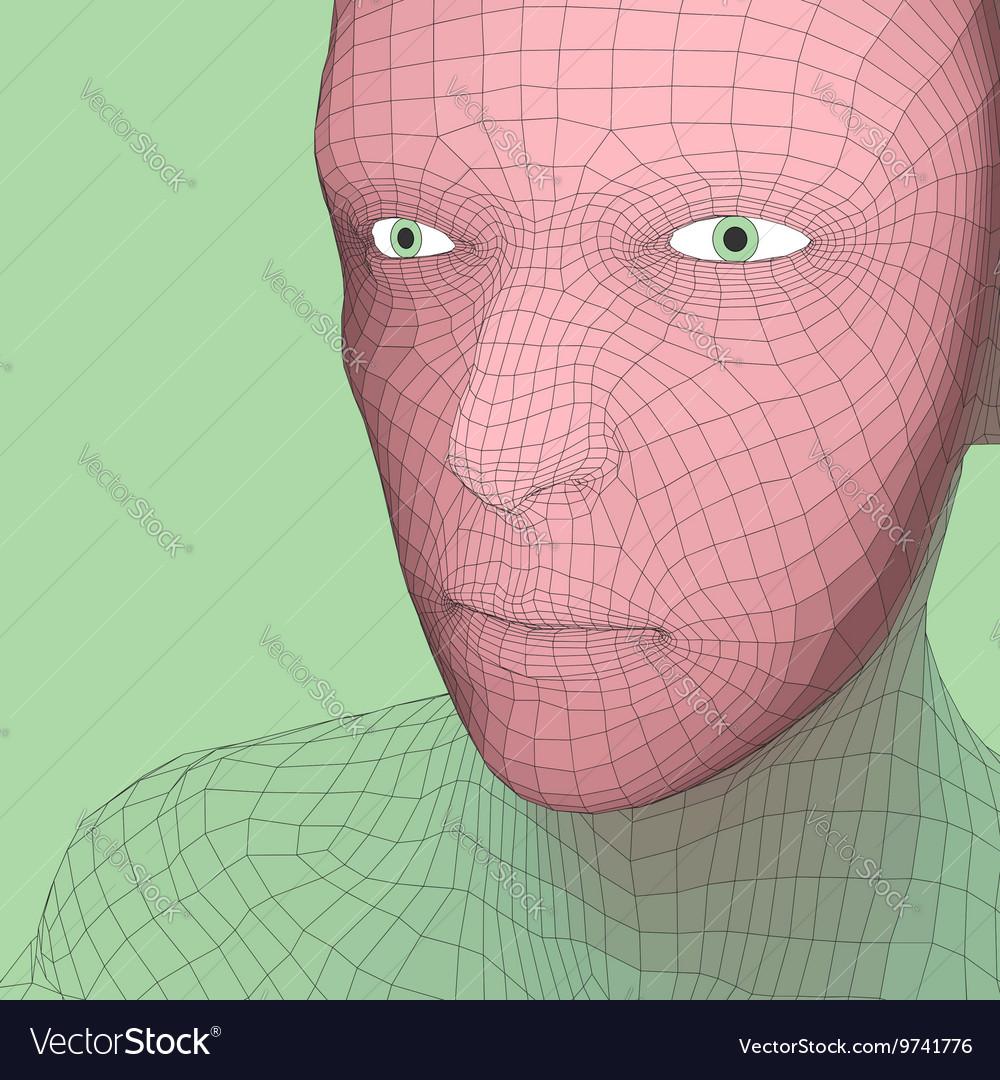 Head 3d Grid Geometric Face Design