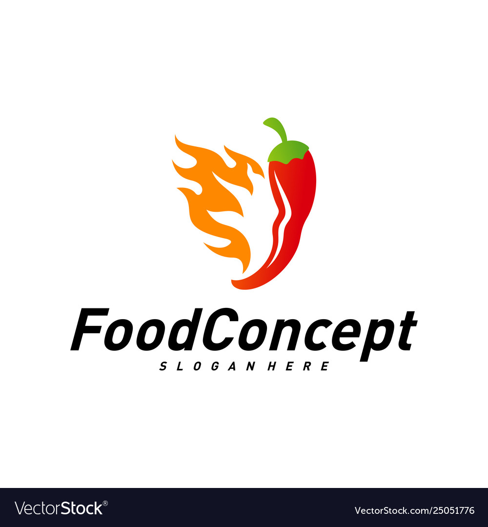 Hot food logo concept red chili logo design