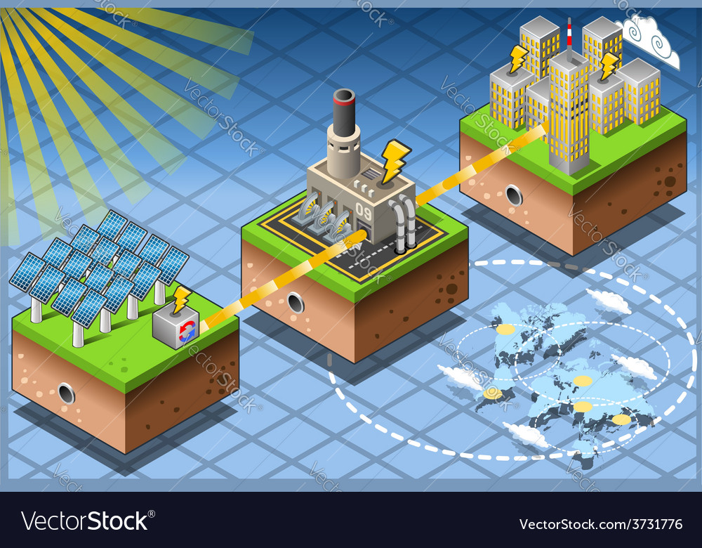 Isometric Infographic Energy Harvesting Diagram vector image