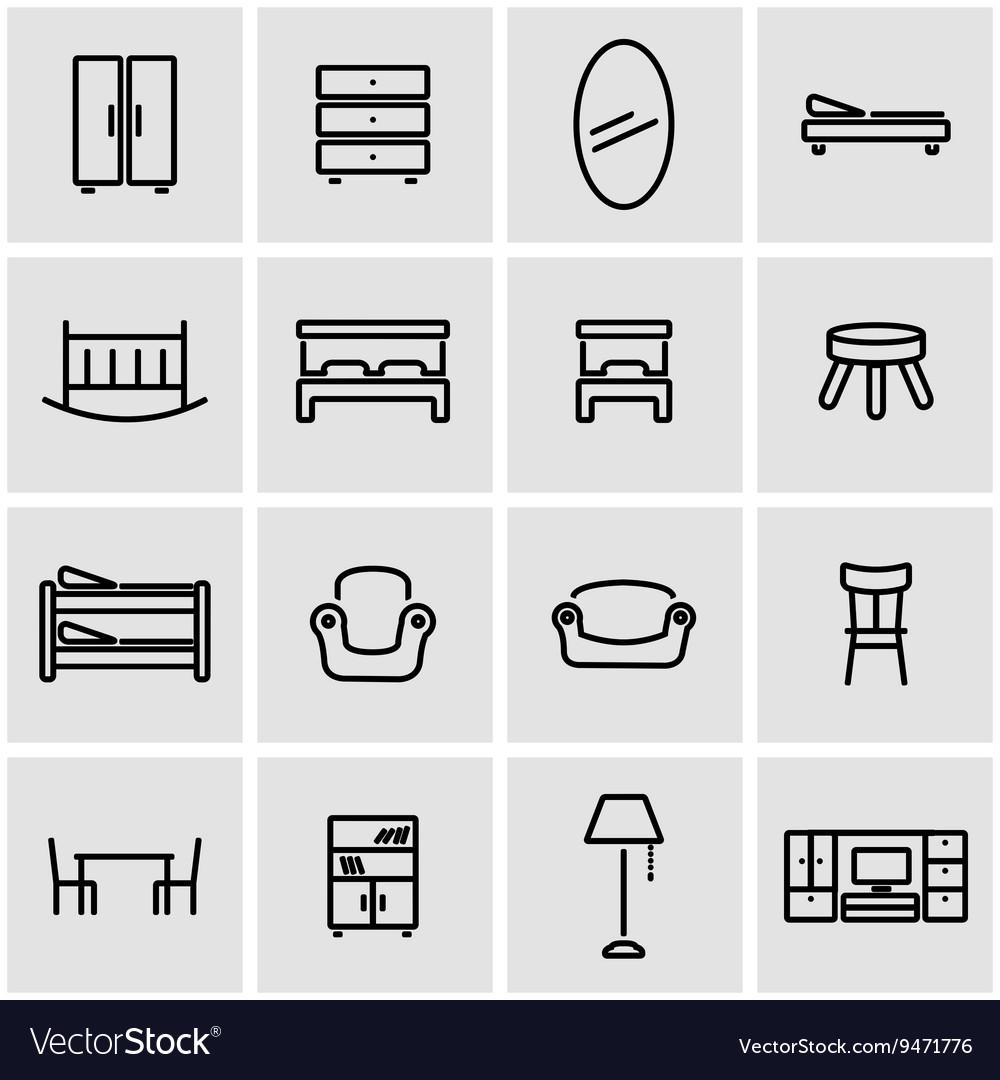 Line furniture icon set