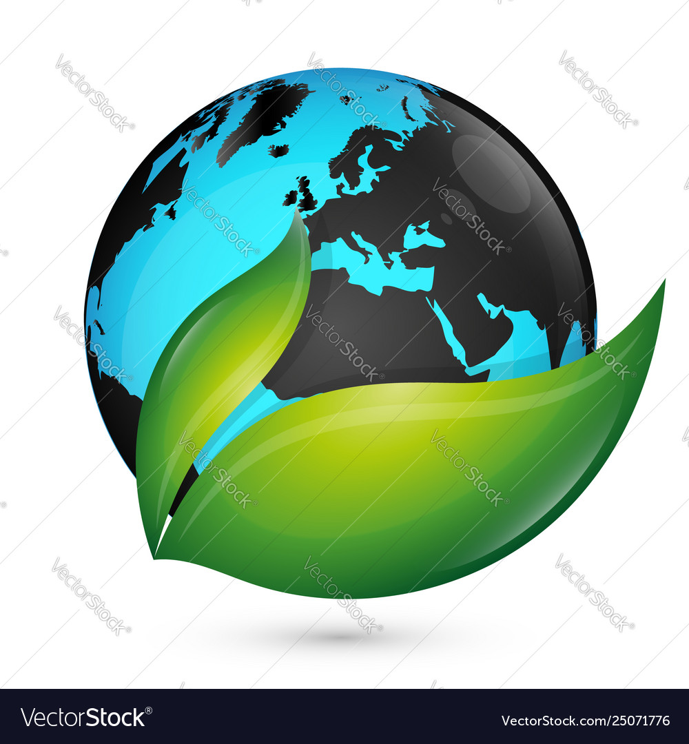 Planet earth and green leaf eco