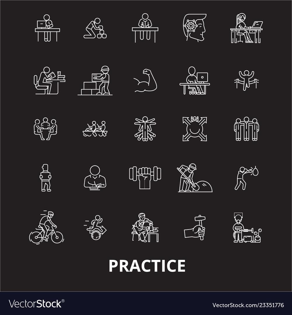 Practice editable line icons set on black