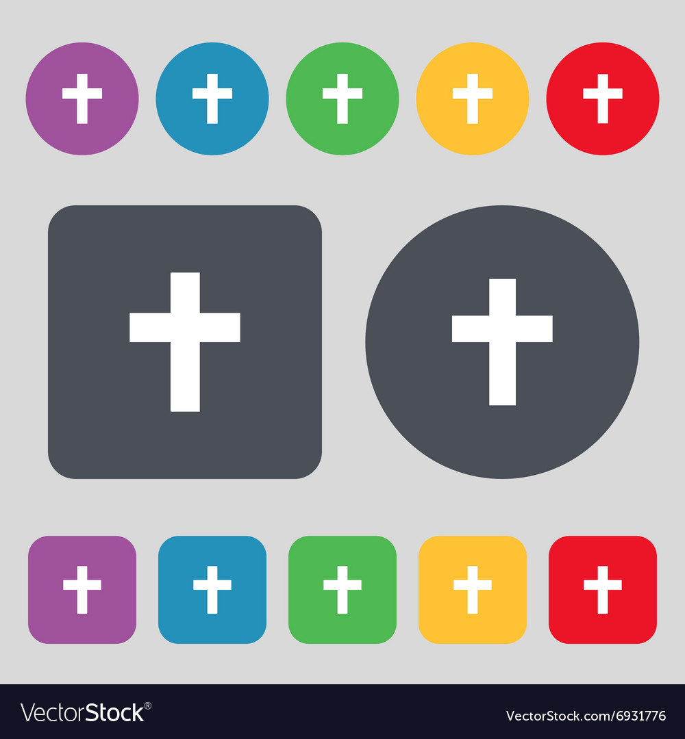 Religious cross Christian icon sign A set of 12