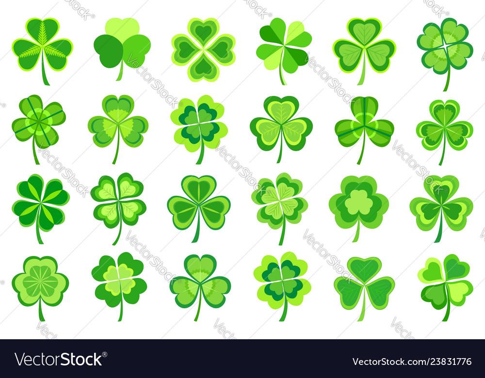 Set of stylized green patricks leaf clover