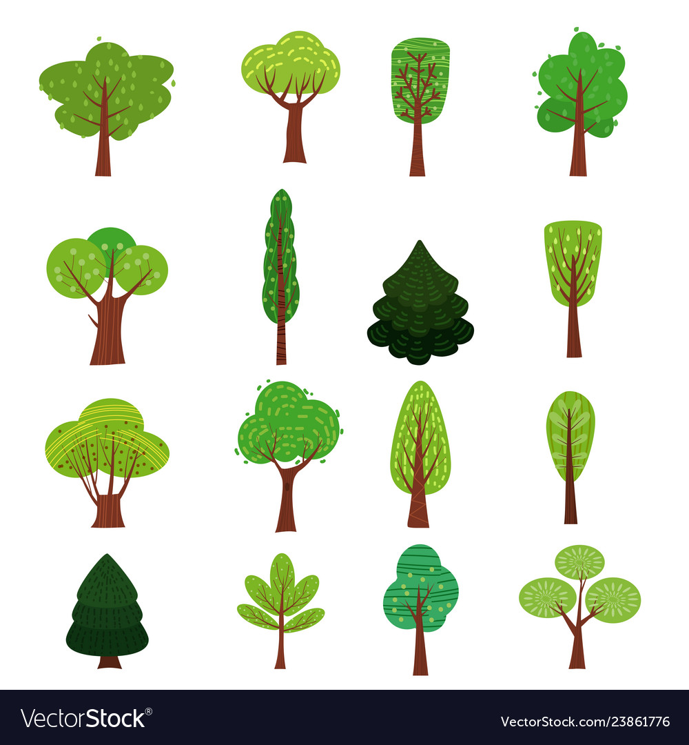 Set of trees forest green color stylized cute