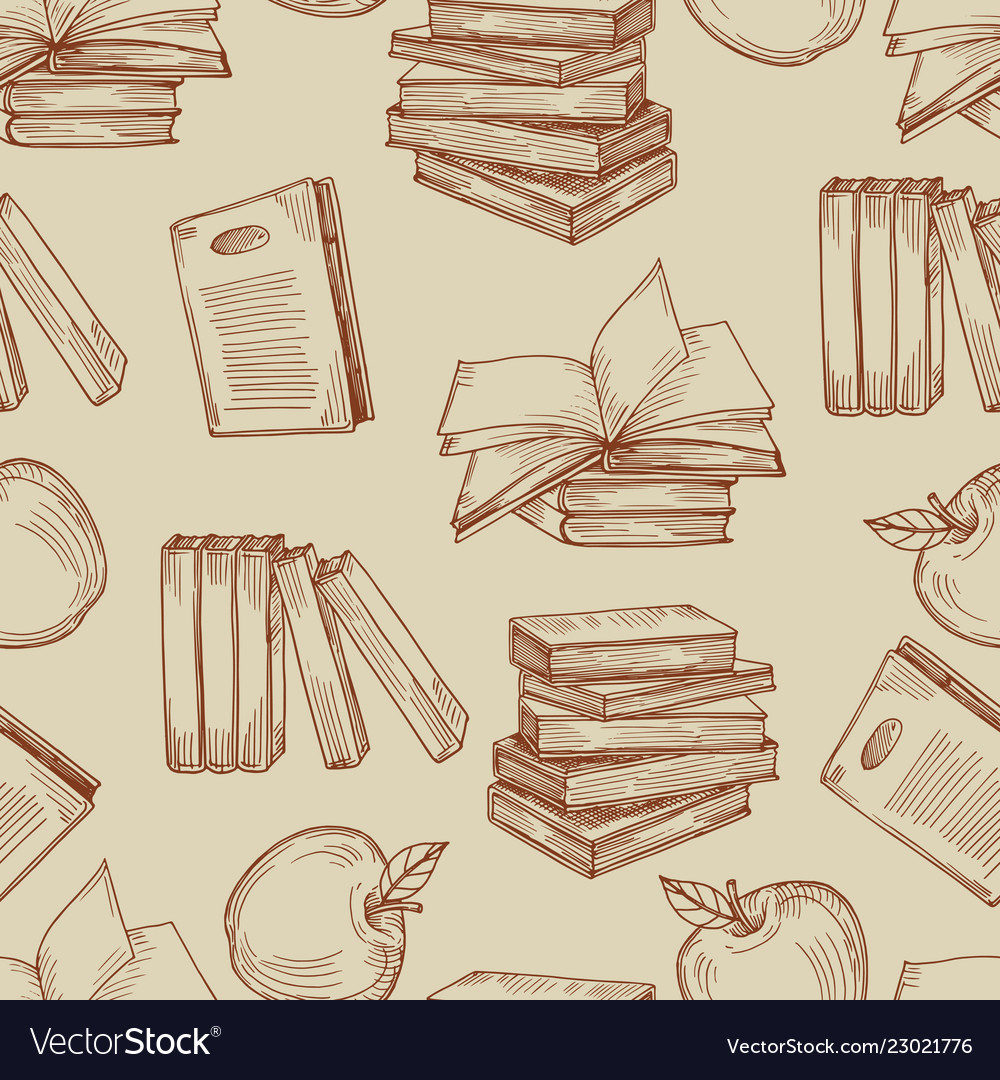 Sketch vintage books seamless pattern or