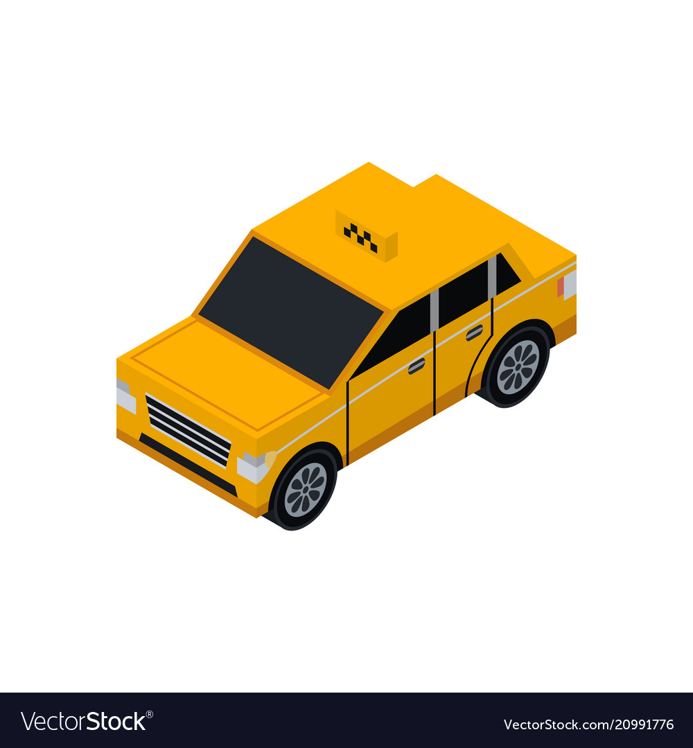 Taxi cab isometric 3d element