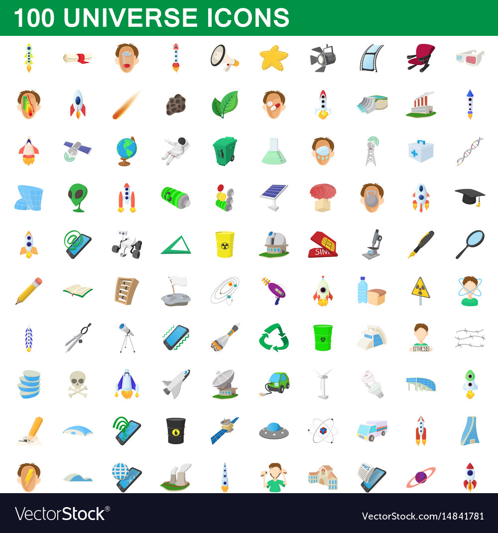 100 universe icons set cartoon style