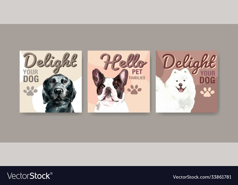Advertise template with dogs and food design