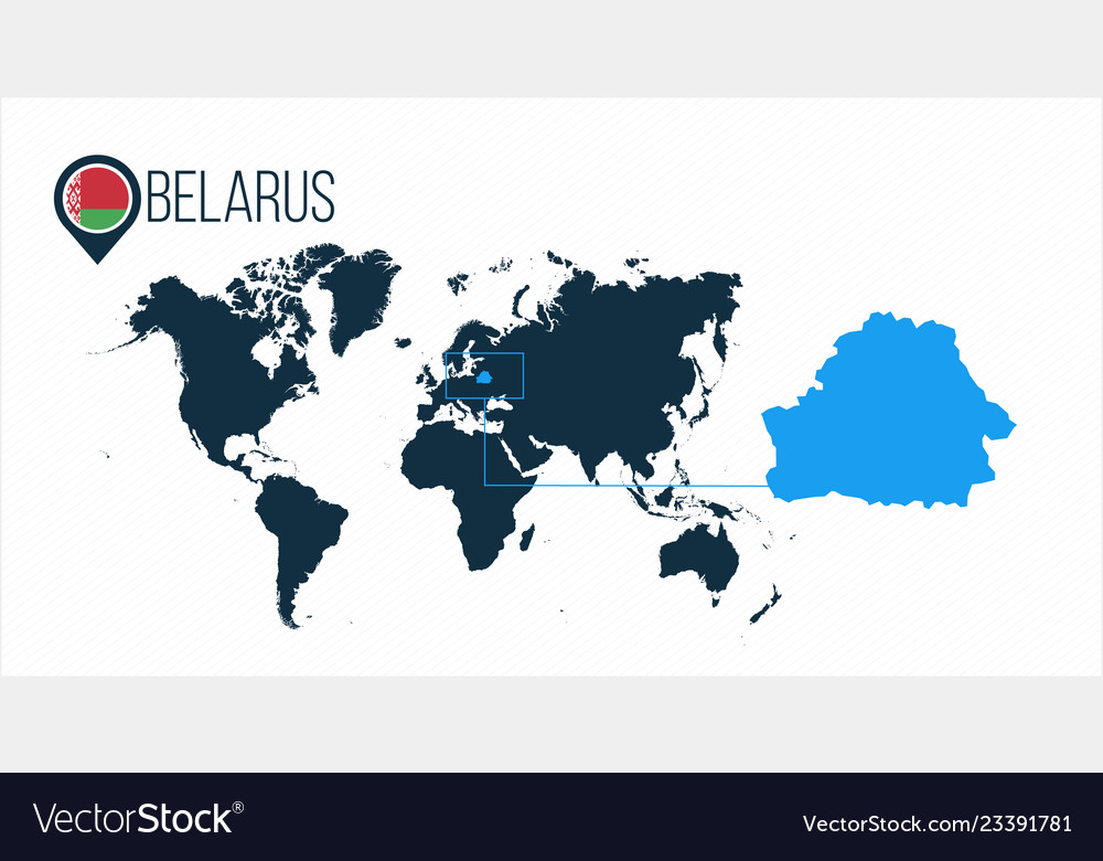 Belarus Location On The World Map For Royalty Free Vector