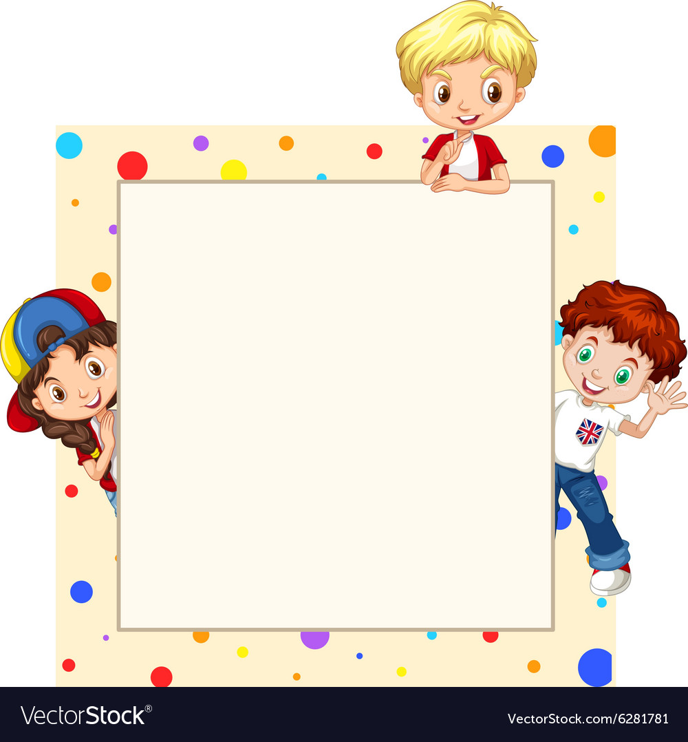 Border Design With Children Royalty Free Vector Image