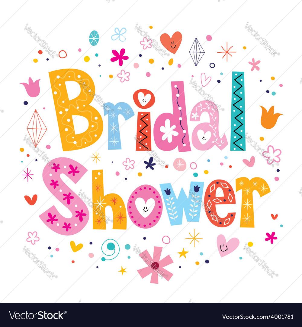 bridal shower card lettering decorative type vector image
