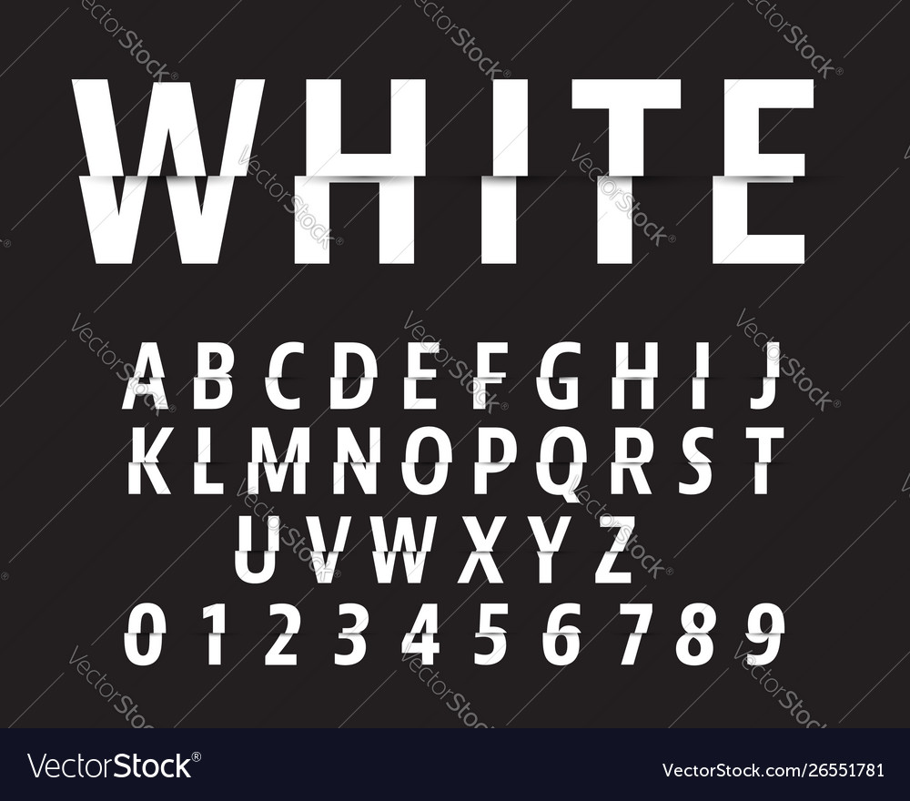 Cut alphabet font template letters and numbers